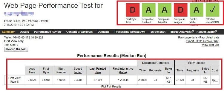 Site speed test pingdom