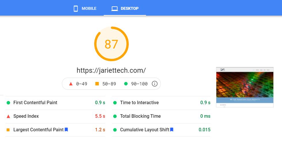 Google Core Web Vitals Desktop Before Test