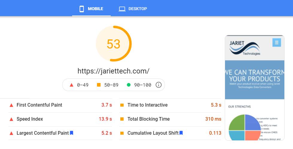 Google Core Web Vitals Mobile Before Test 1