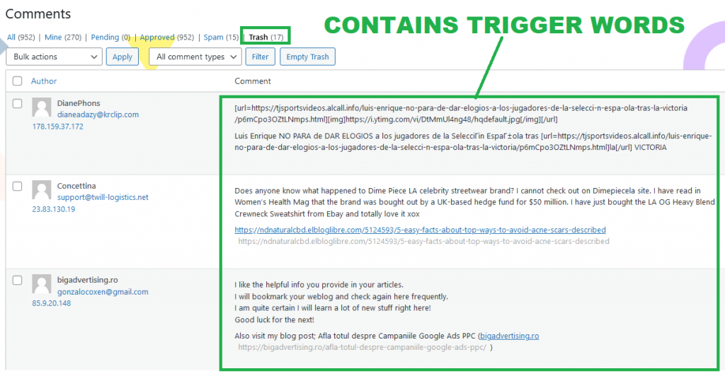 Block Malicious Visits to Your WordPress Site Trashed Comments